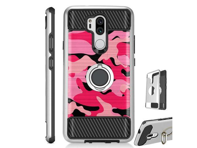 For LG G7 ThinQ | LG G7 Case Hybrid TPU Ring Stand Guard Phone Cover (Pink  Black Camouflage) - Newegg com