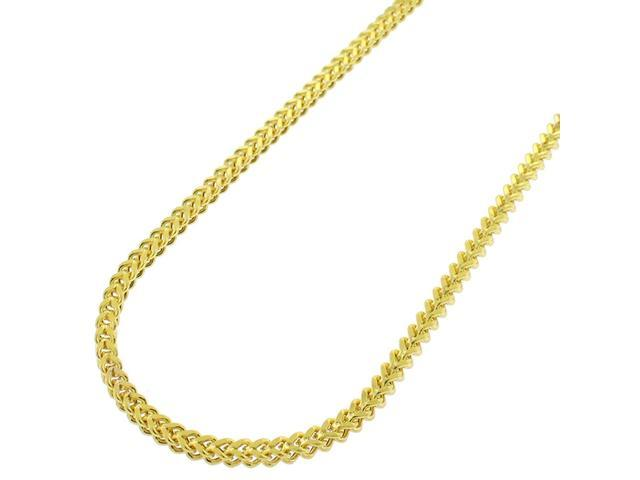 d13890ddfc1e2 Sterling Silver 2.5mm Hollow Franco Square Box Link 925 Yellow Gold Plated  Necklace Chain 18