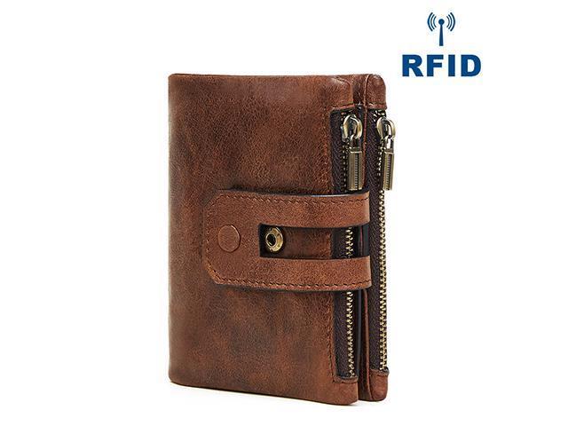 183573201ed8 AutofeelSunriseoffice Men Genuine Leather Wallet Multi Card Holder Male  Fashion Purse Small Hasp Money Bag Mini Vintage Slim Zipper Wallets RFID ...