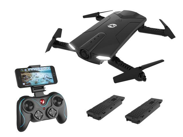 Holy Stone - HS160 Foldable Wifi FPV Drone with 720P Camera and Bonus Battery, Black