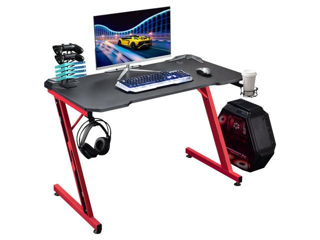 Homall Z-shaped Computer Gaming Desk Racing Style Carbon Coated - Sale: $119.98 USD