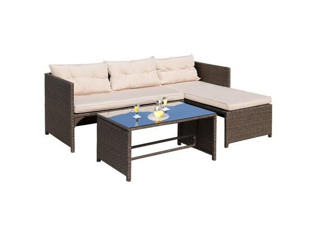 Homall 4 PC Wicker Outdoor Patio Furniture Set Rattan Sofa,Outdoor ...