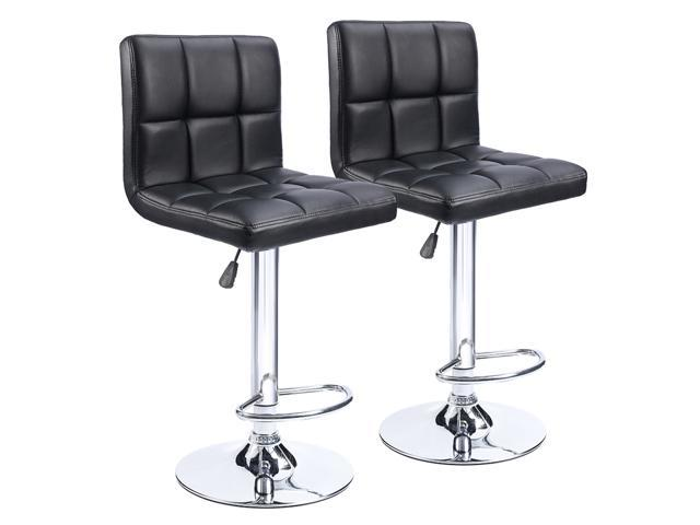 Awesome Homall Bar Stools Black Bonded Pu Leather With Larger Seat Hydraulic Swivel Backrest Adjustable Counter Height And Air Lift Set Of 2 Short Links Chair Design For Home Short Linksinfo