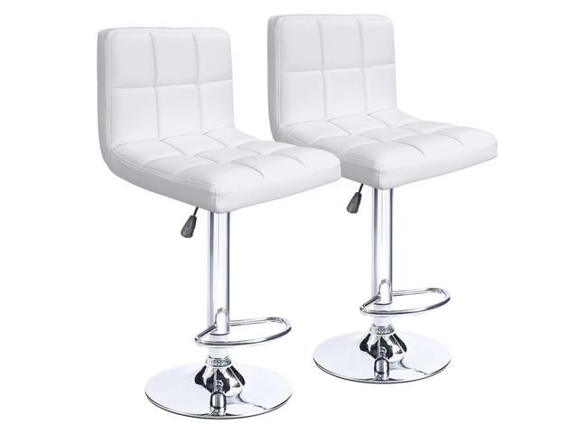 Homall Bar Stools Set Of 2 Hydraulic Swivel White Bonded Pu Leather With Larger Seat Backrest
