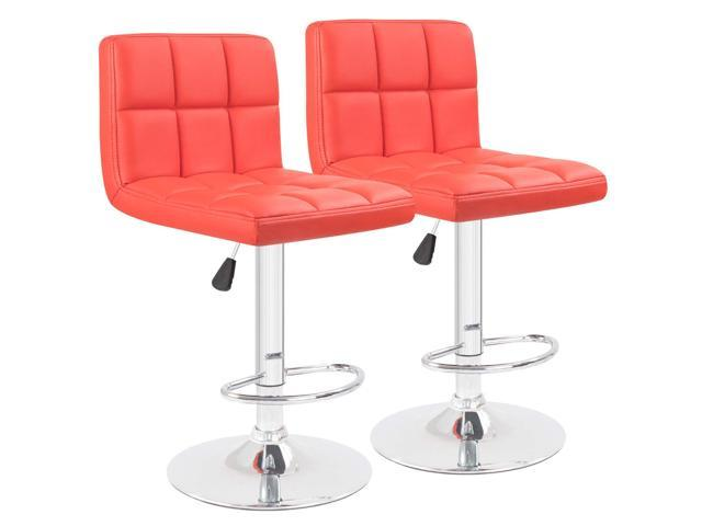 Sensational Homall Modern Pu Leather Swivel Adjustable Barstools Set Of 2 Synthetic Leather Hydraulic Counter Stools Red Machost Co Dining Chair Design Ideas Machostcouk