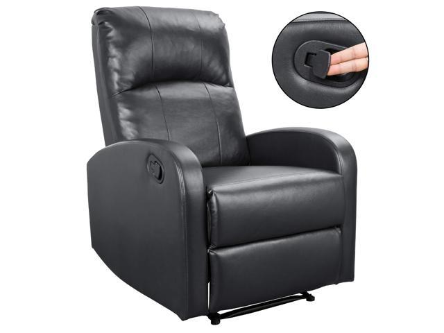 Admirable Homall Manual Recliner Chair Padded Pu Leather Home Theater Seating Modern Chaise Couch Bright Black Ncnpc Chair Design For Home Ncnpcorg