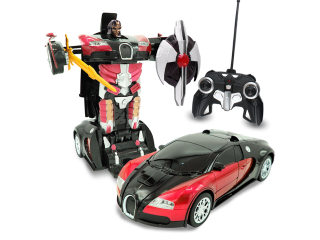 Red Inferno Kids Rc Toy Transforming Robot Remote Control 27 Mhz