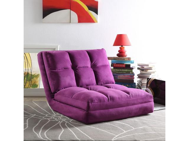 Loungie Purple Convertible Flip Chair | Micro-Suede | 5-Position - Sale: $139.99 USD