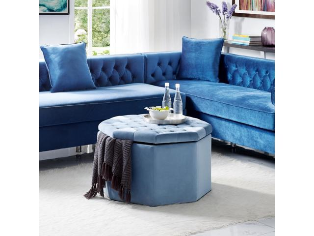Ottomans Ellis Dark Grey Velvet Finish Storage Chest: Skylar Blue Velvet Storage Ottoman