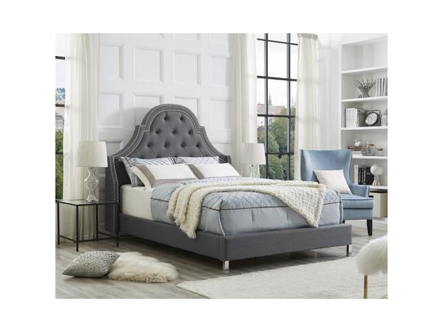 Clarinda Light Grey Linen Headboard Queen Size Upholstered Nailhead Modern And Contemporary Inspired Home Newegg Com