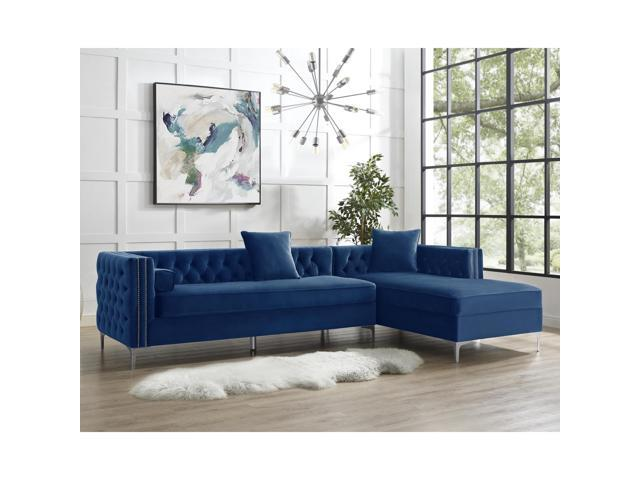 Lorenzo Navy Blue Chaise Sectional Sofa - 115\