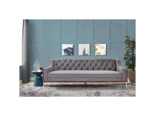 Dexter Light Grey Button Tufted Sofa - Walnut Finish | Chrome Legs | Modern  Contemporary | Inspired Home - Newegg.com