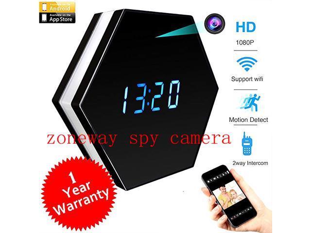6852635abb12 zoneway Wifi Spy Camera Alarm Clock Hidden Camera 4500mAh HD 1080P With IR  Night Vision Motion