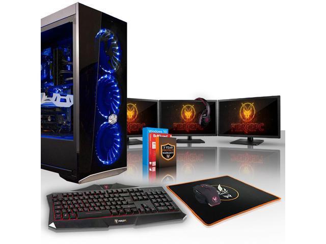 Fierce PYTHON Gaming PC, Fast Intel Core i5 9600K 4 5GHz, 120GB SSD, 2TB  HDD, 8GB RAM, RTX 2070 8GB, Windows 10 Installed, Keyboard and Mouse, 3x