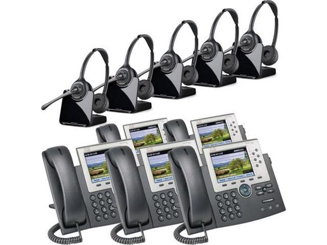 Plantronics Binaural Wireless Headset System CS520 Cisco Unified IP Phone  7965G (5 Pack) Combo - Newegg com