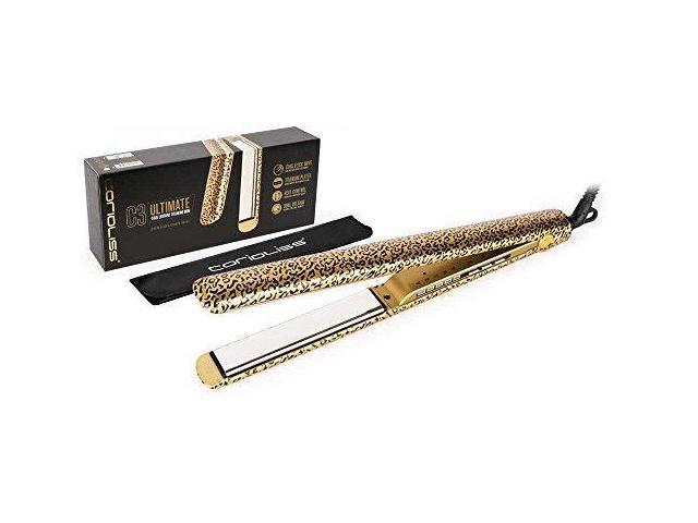 Corioliss C3 Ultimate Titanium Flat Iron, Gold Leopard, Professional Hair  Straightener, Negative Ion, Anti-Static Anti-Frizz, Travel Pouch Included,  2