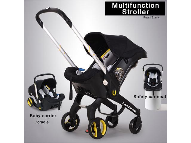 New Multifunction Baby Stroller / Cradle Carrycot Carseat 4 In 1 Travel System Pram Infant Portable Pushchair Rock Carrier Bundle - Black (No