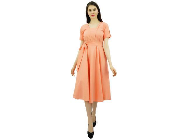 a488e4a1cbf Bimba Women Short Sleeve Peach Linen Shift Dress with Belt Casual Dresses-8