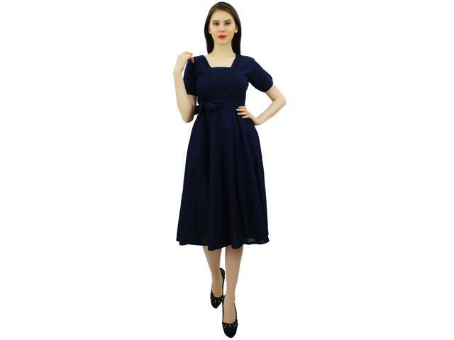 e4f46b5e48c Bimba Women Short Sleeve Navy Blue Linen Shift Dress with Belt Casual  Dresses-6