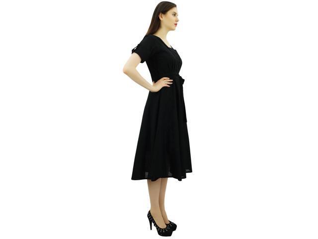 392918ceb86 Bimba Women Short Sleeve Black Linen Shift Dress with Belt Casual Dresses-12