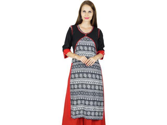 e2e4e79ec7d2ff Bimba Women Long Rayon Kurta 3/4 Sleeve Formal Casual Indian Tunic Top - 18