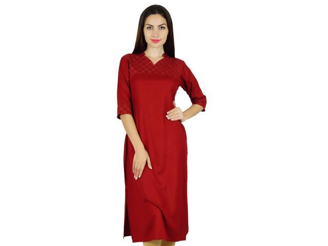 e8cc9d4c352b68 Bimba Women Red Cotton Kurta Solid Tunic 3/4 Sleeve Indian Chic Regular - 14