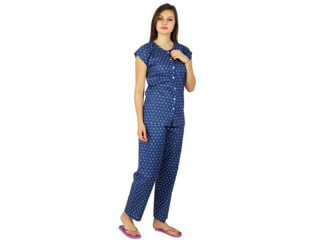 2b460a3ae4 Bimba Womens Cotton Night Wear Pajama Set Short Sleeve Shirt with Pyjamas  Night Suit