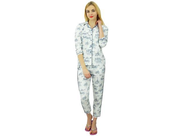 f44a247a12 Bimba Womens White Cotton Night Wear Printed Pajama Set Full Sleeve Shirt  With Pyjama