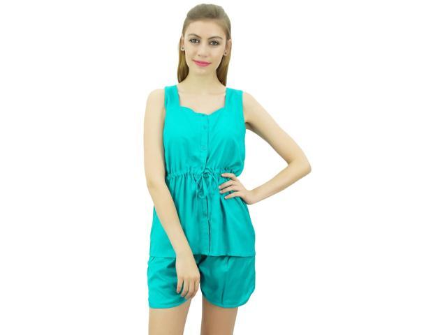 566c008c63 Bimba Womens Drawstring Solid Aqua Pj Set Buttondown Shirt Shorts Dress