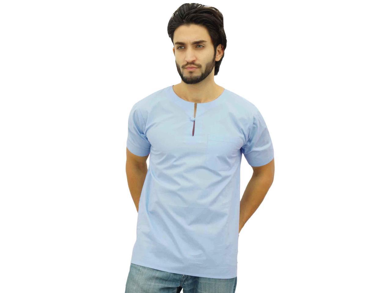 d2579504a6 Corto azul de cielo Kurta algodón Casual T camisa túnica cocina étnica  Atasi hombres