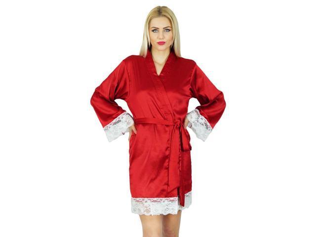 8519fad079e5 Bimba Women Kimono Sleeve Satin Short Robe Getting Ready Bride Bridesmaid  Lace Robes Coverup