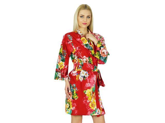 5898d02bb3 Bimba Women Floral Robe Short Cotton Getting Ready Bridesmaid Robes