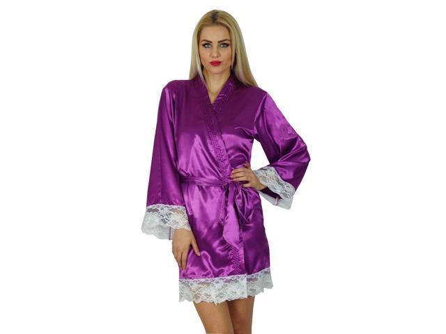 de5224cd70 Bimba Women Kimono Sleeve Satin Short Robe Getting Ready Bride Bridesmaid  Lace Robes Coverup