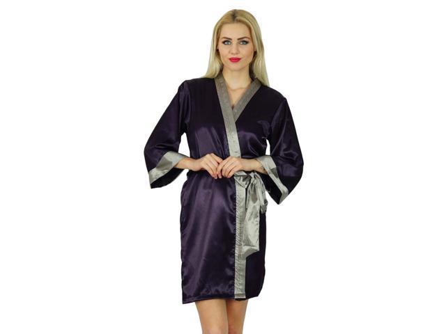 f9adac2ddd Bimba Women Short Classic Satin Robe Getting Ready Bride Bridesmaid Robes  Kimono Sleeve Coverup