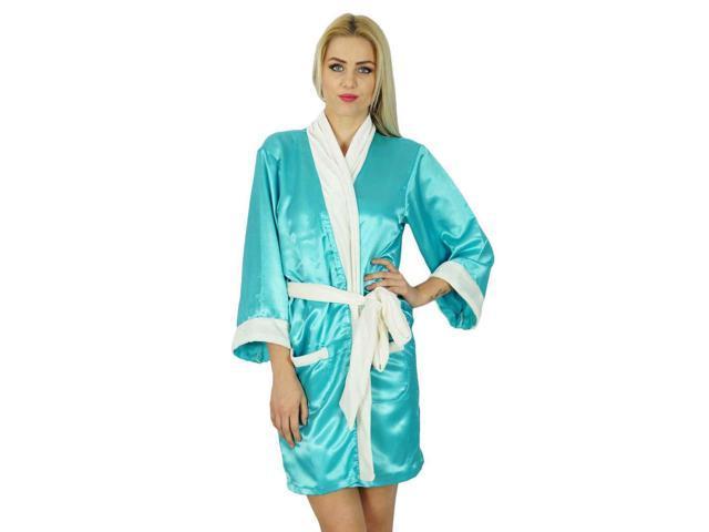 c48a218d9c Bimba Women Short Satin Robe Velvet Belt Getting Ready Bridesmaid Robe  Coverup
