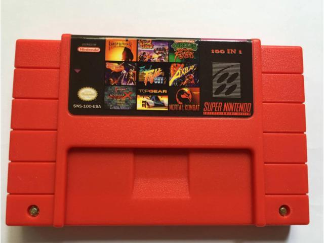 0d573388678f0 Super Nintendo 100 in 1 Video Game Cart Batman Castlevania Clay  Fighter Final