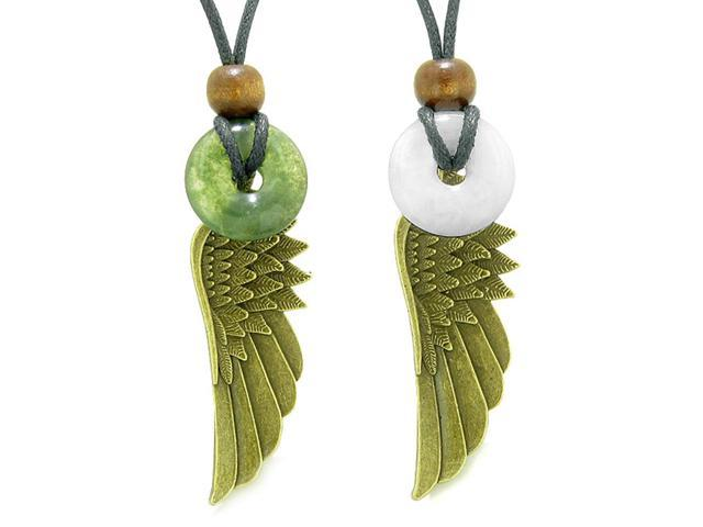 Guardian Angel Wings Magic Amulets Love Couples or Best Friends Set Moss  Agate and Quartz Donut Necklaces - Newegg com