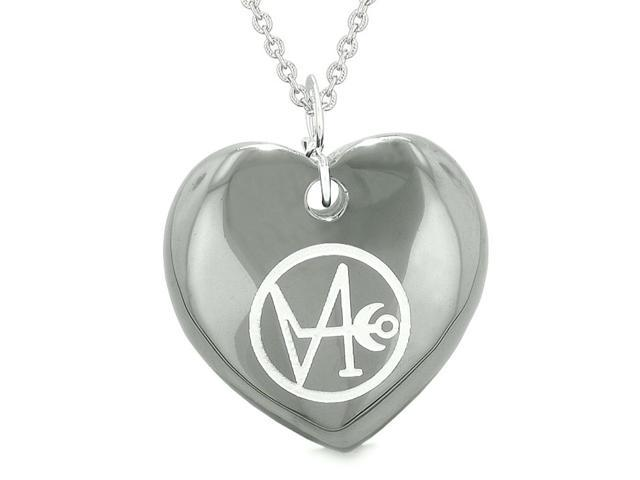 Archangel Gabriel Sigil Magic Planet Energy Amulet Puffy Heart Hematite  Pendant 18 inch Necklace - Newegg com