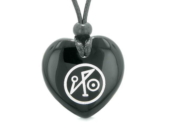 Archangel Michael Sigil Magic Planet Energy Puffy Heart Amulet Black Agate  Pendant Adjustable Necklace - Newegg com