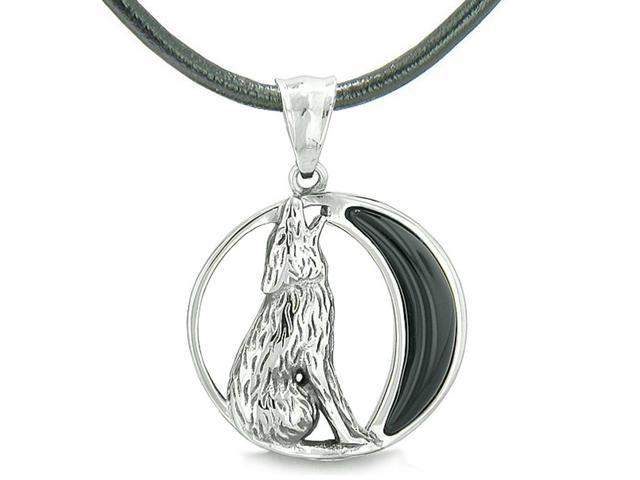 Amulet Howling Wolf Wild Moon Spiritual Powers Simulated Black Onyx Leather  Pendant Necklace - Newegg com
