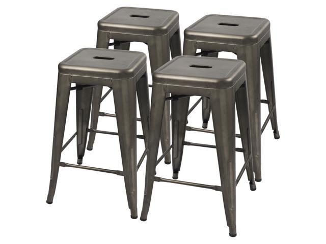 Prime Furmax 24 Metal Stools High Backless Silver Metal Indoor Outdoor Counter Height Stackable Bar Stools Gun Metal Set Of 4 Ncnpc Chair Design For Home Ncnpcorg