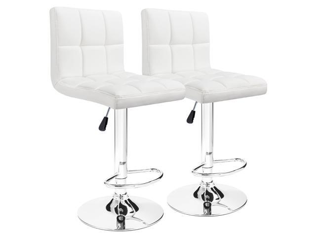 Furmax Bar Stools White Modern Pu Leather Swivel Adjule Hydraulic Stool Square Counter High Dinning Kitchen Chair Set Of 2