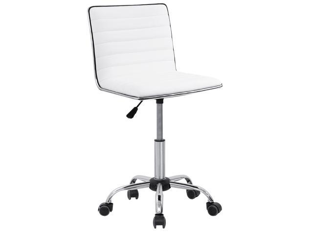 Furmax Mid Back Task Chair Low Pu Leather Swivel Office Desk Computer With Armless Ribbed Soft Upholstery White Newegg