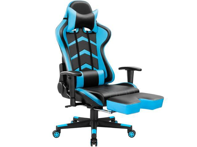 Furmax Computer Office Gaming Chair With High Back Ergonomic Swivel Executive Pu Leather Footrest Bucket Seat And Lumbar Support Blue