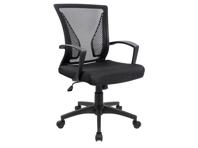 Furmax Office Chair Mid Back Swivel Lumbar Support Computer Ergonomic Mesh  Seat With Armrest (Black) - Newegg com
