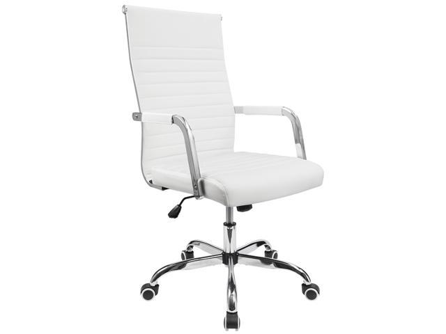 Furmax Ribbed Mid-Back PU Leather Office Chair