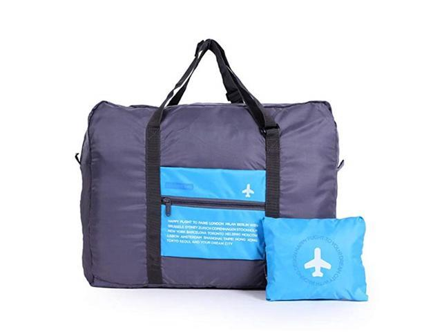 Foldable Travel Duffel Bag Luggage Sports Gym Water Resistant Nylon - Blue