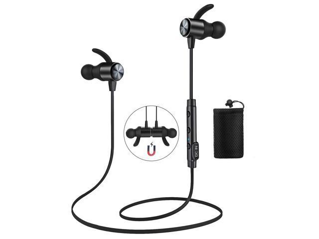 1ba91b2f12c ATGOIN Bluetooth 4.1 Magnetic Wireless Sports Earphones W/Mic HD Stereo  Sweatproof in Ear Earbuds Noise Cancelling - Black