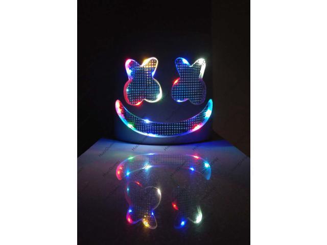 Marshmello Dj Mask Led Lights Flash Full Helmet For Halloween