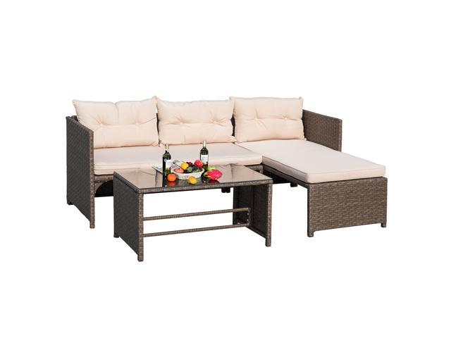 Devoko 3 Pieces Rattan Sectional Garden Patio Furniture Sets Clearance All Weather Wicker Porch